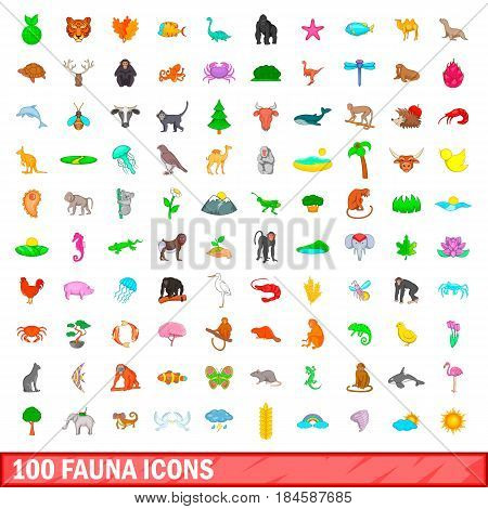 100 fauna icons set in cartoon style for any design vector illustration