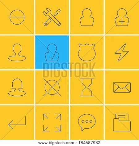 Vector Illustration Of 16 User Interface Icons. Editable Pack Of Cancel, Envelope, Female User And Other Elements.
