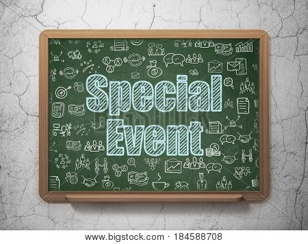 Business concept: Chalk Blue text Special Event on School board background with  Hand Drawn Business Icons, 3D Rendering