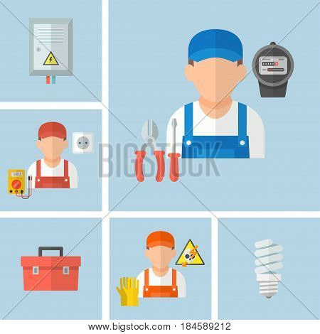 Working male electrician in uniform with electrical tools. Icons of a professional electrician on a blue background in a flat style. Profession electrical engineer vector illustration.