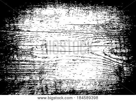 Grunge old wood black background. Wooden plank distressed overlay texture. Aged board. EPS10 vector.