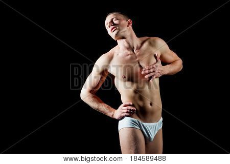 Muscular Man Hold Hand On Chest Has Heartache