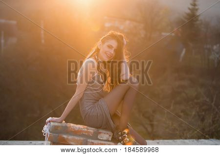 Beautiful Brunette Girl, Priestess Of Sun In Ethnic Style