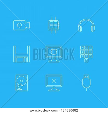 Vector Illustration Of 9 Computer Icons. Editable Pack Of Antivirus, Movie Cam, Number Keypad And Other Elements.