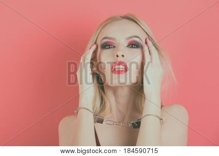 Girl With Handcuffs, Sexy Blonde Woman With Red Lips