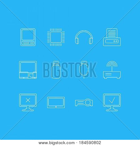 Vector Illustration Of 12 Laptop Icons. Editable Pack Of Access Denied, Gadgets, Tablet And Other Elements.