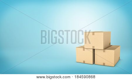 Three brown carton boxes closed with a tape and placed together on blue background. Transportation and delivery. Safe cargo. Warehouse stock.