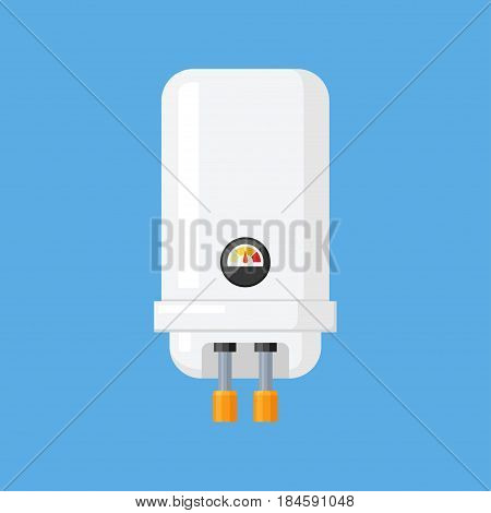 Water heater vector illustration in a flat style. Electric white water heater for bath and kitchen.
