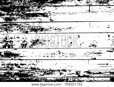 Grunge old wood black background. Wooden planks distressed overlay texture. Aged board. EPS10 vector.