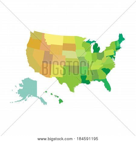 United States of America USA Vector Map isolated on white. background. Vector illustration.