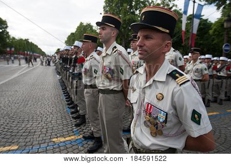 Paris. France. July 14 2012. The ranks of the foreign legionaries of the French foreign legion during parade time on the Champs Elysees in Paris.