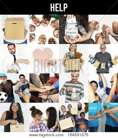 Group of Diverse Volunteer Charity Donation Support Studio Collage Isolated