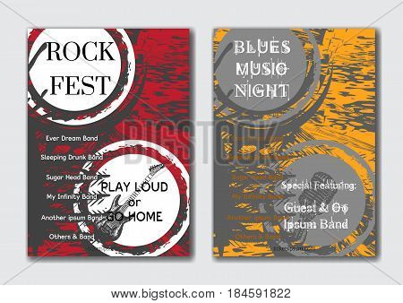 Vector rock jazz or blues music poster templates set. Grunge abstract background.