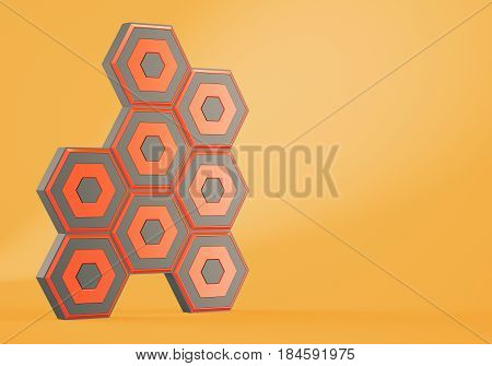 Abstract hexagons on orange background. 3d rendering