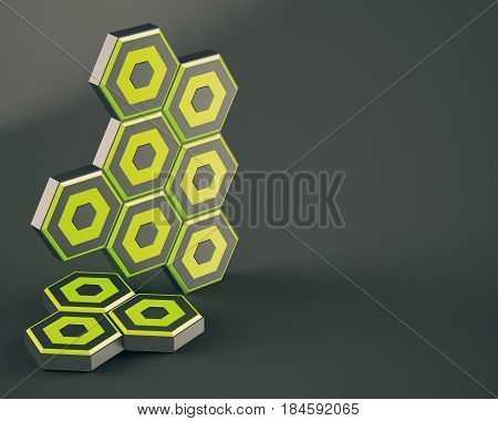 Abstract hexagons on dark background. 3d rendering