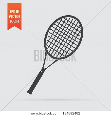 Tennis Racquet Icon In A Flat Style, Isolated On A Gray Background.