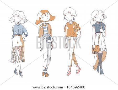 Fashion vector girls set. Hand drawn creative illustration with lovely color girls in casual clothes with bags shoes. Isolated on white sketch in doodle style. Cute girls characters.