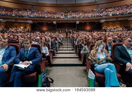 Moscow, Russia - April 24, 2017: People attend Synergy Global Forum at Crocus Expo Hall. This is one of the largest business forums with more than 5000 participants