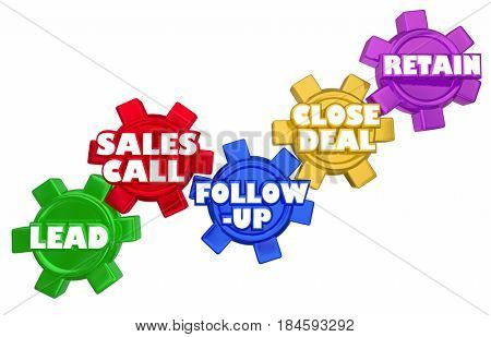 Lead Sales Call Follow Up Close Deal Gears Procedure 3d Illustration