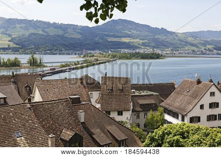 Rapperswil Switzerland - May 10 2016: Roofs of the city by the lake Zurich form the landscape these roofs are covered with ceramic tiles.