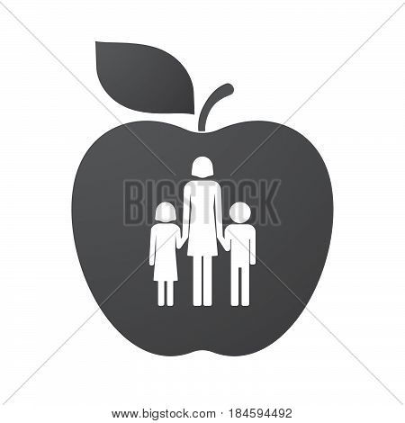 Isolated Apple Fruit With A Female Single Parent Family Pictogram