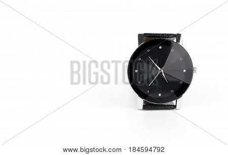 Luxury leather hand watch isoalted on white copy space