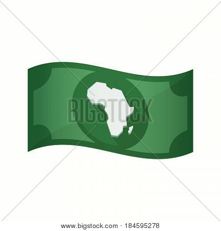 Isolated Bank Note With  A Map Of The African Continent