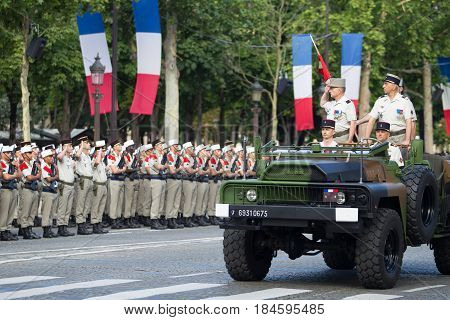 Paris. France. July 14 2012. Commanders of the French army welcome from the machine legionners of the French foreign legion during the parade on the Champs Elysees in Paris.