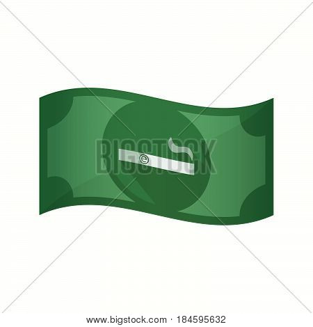 Isolated Bank Note With An Electronic Cigarette