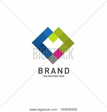Heart Logo Geometric  square color Conceptual  design, abstract vector linear template. Business Technology Square Luxury Jewelry Fashion loop symbol ,Logotype Love concept icon