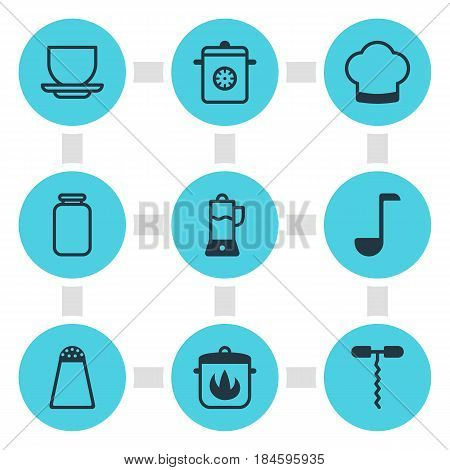 Vector Illustration Of 9 Restaurant Icons. Editable Pack Of Wine Opener, Fruit Squeezer, Stewpot And Other Elements.