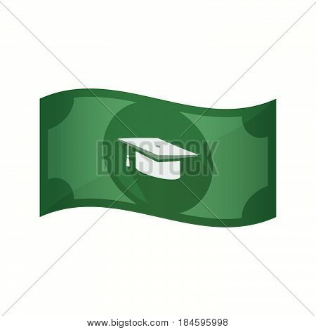 Isolated Bank Note With A Graduation Cap