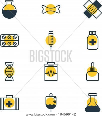 Vector Illustration Of 12 Medicine Icons. Editable Pack Of Genome, Pills, Medicament Pitcher And Other Elements.