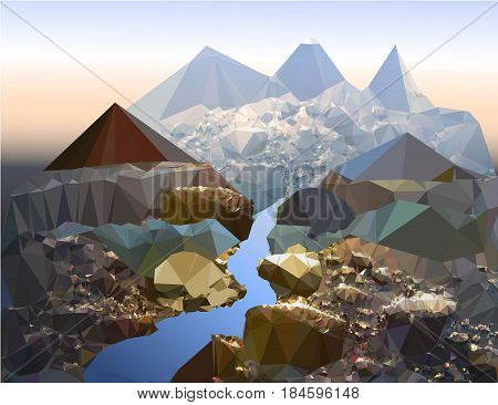 Misty mountain landscape of polygons with a river. Polygonal landscape with stones, water and frozen mountains