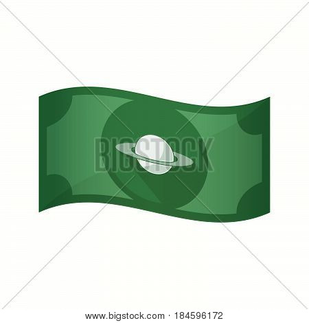 Isolated Bank Note With The Planet Saturn