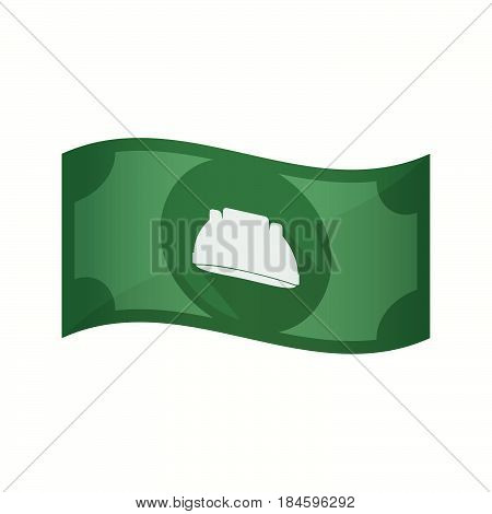 Isolated Bank Note With A Work Helmet