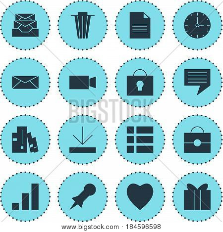 Vector Illustration Of 16 Online Icons. Editable Pack Of Thumbtack, Portfolio, Keyhole And Other Elements.