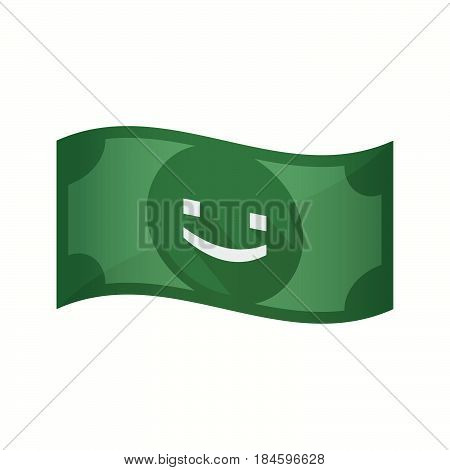 Isolated Bank Note With A Smile Text Face