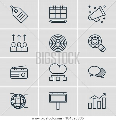 Vector Illustration Of 12 Ad Icons. Editable Pack Of Advertising Billboard, Advancement, Aiming And Other Elements.