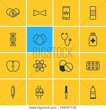 Vector Illustration Of 16 Medicine Icons. Editable Pack Of Painkiller, Osseous , Band Aid Elements.