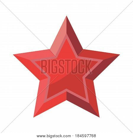 Red Star with shadows isolated on White Background 23 February 9 May. Symbol of victory