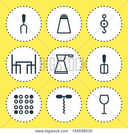 Vector Illustration Of 9 Cooking Icons. Editable Pack Of Pepper Container, Kettle, Steelyard And Other Elements.