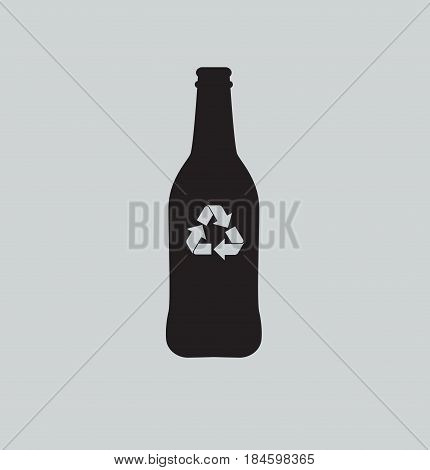 Recycling bottle symbol concept. Glass bottle icon. Vector stock.