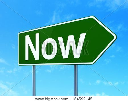 Time concept: Now on green road highway sign, clear blue sky background, 3D rendering