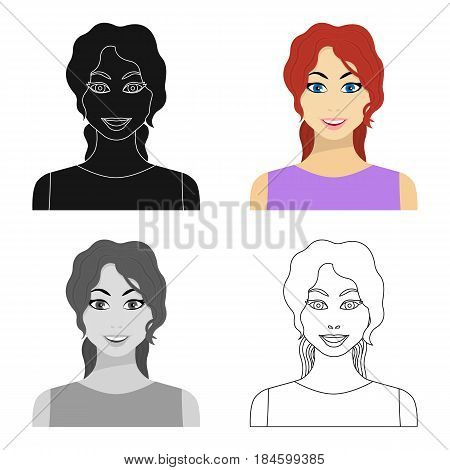 Readhead woman icon in cartoon style isolated on white background. Woman symbol vector illustration.