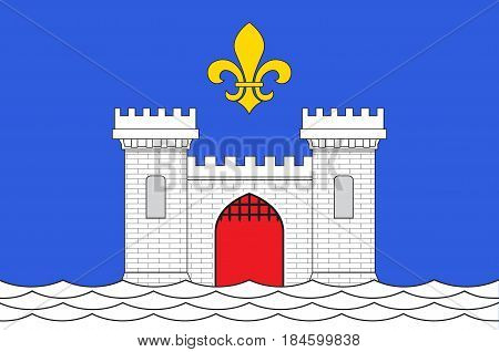 Flag of Blaye is a commune and subprefecture in the Gironde department in Nouvelle-Aquitaine in southwestern France. Vector illustration