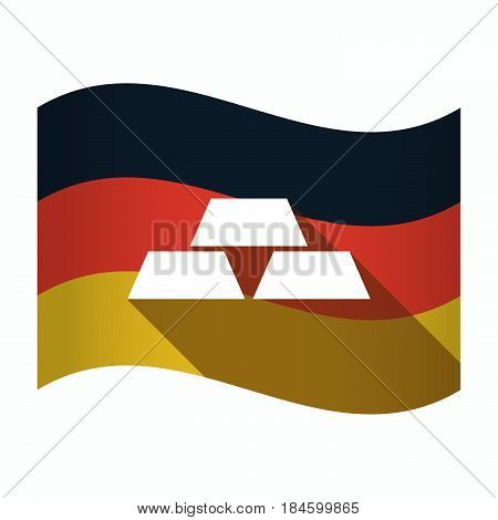 Isolated Germany Flag With Three Gold Bullions