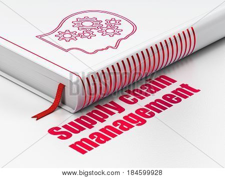 Advertising concept: closed book with Red Head With Gears icon and text Supply Chain Management on floor, white background, 3D rendering