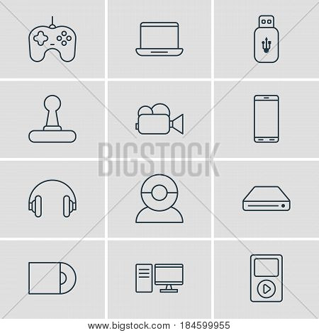 Vector Illustration Of 12 Hardware Icons. Editable Pack Of Usb Card, Computer, Camcorder And Other Elements.