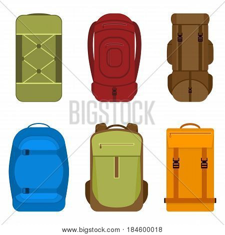 Vector illustration of backpack for camping, hiking, school or travel. Rucksack icons isolated on white background. Knapsack in flat style